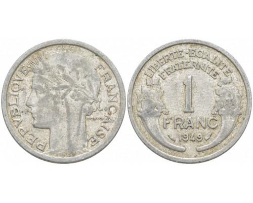 БЕЗ СКИДКИ Монета 1 франк Франция 1940-1949 алюминий