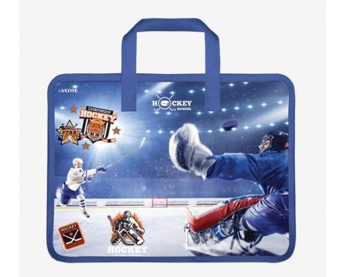 Папка А4 для тетрадей, ИЗО и технологии на молнии с ручками deVENTE.Hockey Championship для мальчика